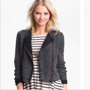 Free People Gray Moro Knit Sweater Jacket